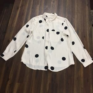 Ann Taylor Loft large polka dotted blouse